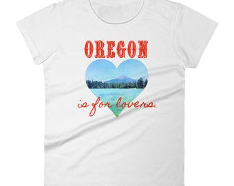 Oregon is for lovers, Valentine's Day, heart, mountain, lake, trees, watercolor, Women's short sleeve t-shirt