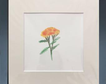 "Lantana yellow and orange flowers, watercolor, 6"" x 6"" (15.25cm x 15.25cm), watercolor painting, original art, yellow flower, orange flower"