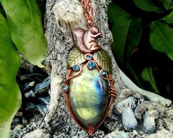 Copper Squirrel Labradorite Pendant Necklace