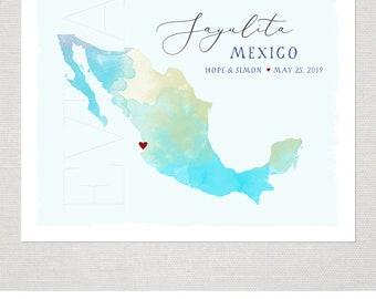 Mexico Custom Wedding Print Destination Wedding Gift Memento Couple print alternative Signature Guest Books Mexican Map