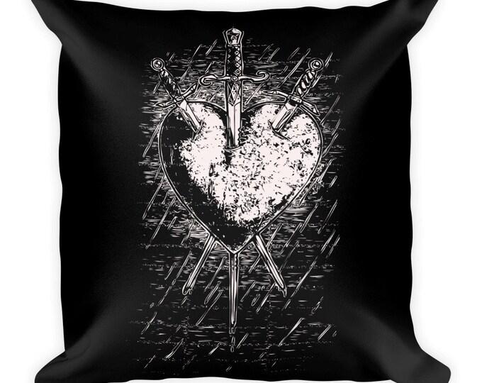 Three of Swords Throw Pillow