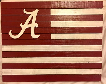 Alabama rustic flag pallet Crimson Tide wood decor