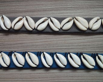 Denim and Cowrie Shells Choker Necklace