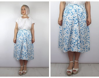 Vintage 1970's White and Blue Floral Midi Button Down Skirt