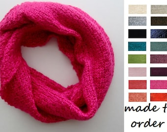 Bamboo Scarf - Hand Knit Silk Bamboo Mini Infinity Scarf - Made To Order