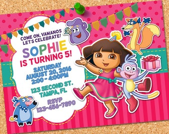 Dora the Explorer Invitation, Dora Birthday, Dora Party, Dora Adventure Invites, Dora Printables, Dora Invite, Dora Digital Card