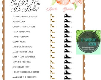 Printable Bridal Shower Game | He Said She Said Version