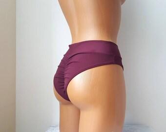 Scrunched high waisted bikini Cheeky Bikini Thong bikini Scrunch Bikini Bottoms 90s thong bikini Brazilian bikini