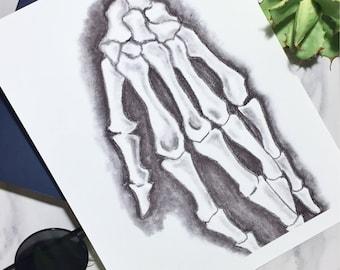 Skeleton Hand Original Art Print Charcoal Drawing