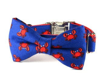 Red Crab Bow Tie Dog Collar