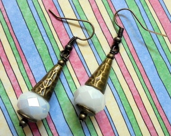 Opaque White and Brass Earrings (3225)