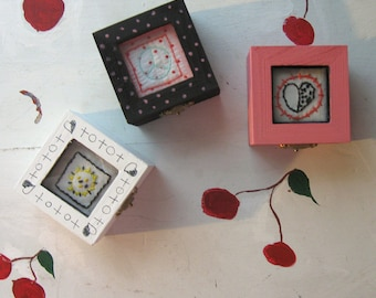 EMBROIDERED TRINKET BOXES