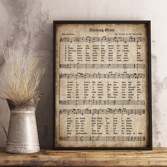 Amazing Grace Lyrics And Sheet Music: Amazing Grace Print Printable Vintage Sheet Music Instant