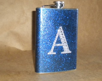 Personalized Flask Navy Blue or ANY Color Sparkly with ANY Rhinestone Initial 8 ounce Stainless Steel Girly Gift Flask KR2D 6780