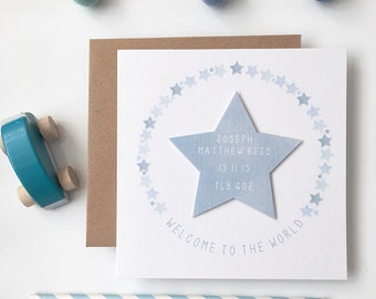 New Baby Card - Personalised New Baby Details - Welcome to the World Card - New  Baby Starburst