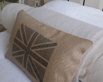 hand screen printed  greys inset union jack flag cushion cover