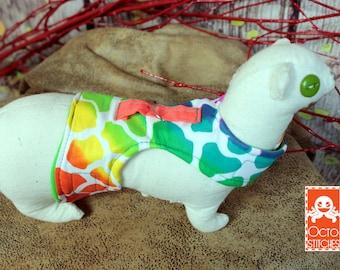 Made to Order - XXXS Ferrets / Small Pet Harness - Rainbow Giraffe Print