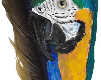 Painted Feather Portrait / Premium Acrylic Pet Portraits / Parrot Feathers / Pet Portrait