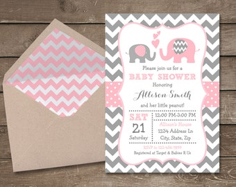 Pink And Grey Elephant Baby Shower Invitation, Pink And Gray Chevron,  Elephant, Little
