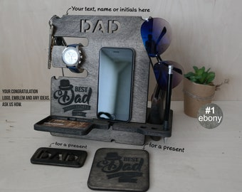 Custom gift for dad, Fathers Day gift, wood docking station, Father's Day gift for husband, phone stand, fathers day gift from daughter, dad