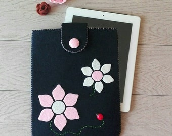 Ipad case, tablet case, computer case, case for laptops, felt case, flowers, felt, felt flower, blue felt, ipad, gift, ladybug, wood ladybug