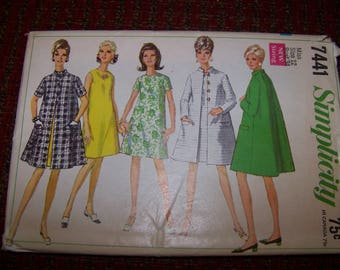 Simplicity 7441 ladies coat and dress pattern size 12 bust 34 new uncut