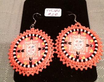Coral Beaded Earrings - turtle design