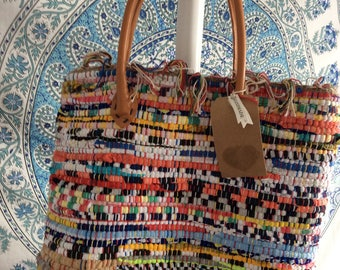Handmade Dhurrie Rug Bag with Leather Handles