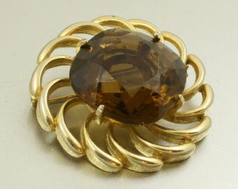 Vintage 60s Brooch with Large Brown Glass Stone, Gold Tone, Faux Smoky Quartz, MOD Brooch