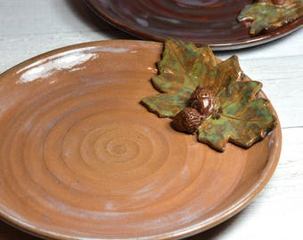Ceramic Plate  - Acorns & Leaves - Serving Dish - Platter