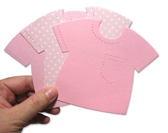 Pink Shirt Die Cuts - 20 - Baby Girl Card-Making Supplies - Cute Pink Paper T-Shirts - Die-cuts for Papercrafting & Scrapbooking - Pink Mix