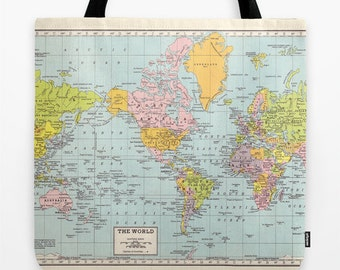 World Map Tote Bag, travel theme tote, everything bag, allover print, gift for mom, beach bag, travel bag, school