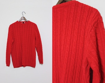 Classic Red Cable Knit Sweater with Zipper Detail
