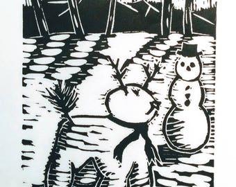 Snow Dog - Linocut