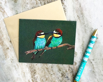 Two Birds on a Branch Greeting Card, watercolor card