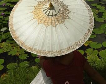 Hand Painted White Waterproof Parasol, White Umbrella, Parasol, Umbrella, Umbrellas, Wedding Parasol, Waterproof Parasol, Parasol Umbrella