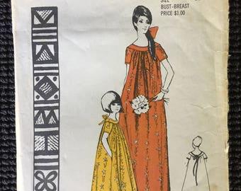 Vintage Polynesian Luau Sewing Pattern Hawaiian MuuMuu Girls Size 10 UNCUT