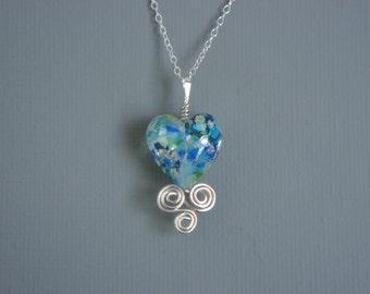 Oceanic Blue Green Murano Heart Pendant Set In Sterling Silver Wire Work