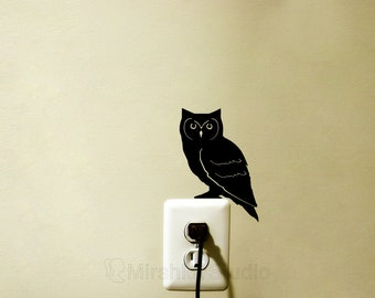 Owl Light Switch Decal - Night Owl Decor - Bird Laptop Sticker - Animal Home Decor - Vinyl Laptop Sticker - Cute Owl Room Decor - Owl Gifts