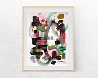 original abstract painting on paper -in the forest-