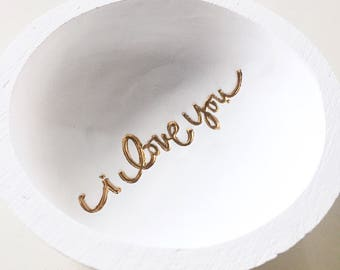 I Love You Ring Dish/Personalized Ring Dish/Valentine's Day ring dish/engagement/wedding/anniversary