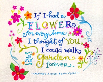 Tennyson Love Poem Valentine quote Print from Original Watercolor