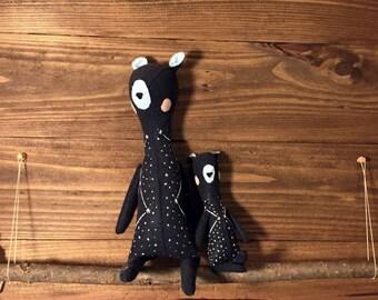 Ursa and Stella - Constellation Bear heirloom doll - fabric doll