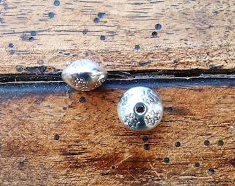 Set of 5 SAUCERS beads 10x7mm Tibetan silver