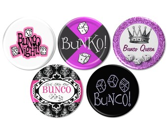5 Bunco Pinback Buttons or Fridge Magnets, Bunko Party Buttons, Bunko Gift, Bunco Prize Pin, Bunco Game Night, Bunco Party Night - BB2531