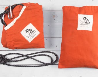 Baby Hammock Swing & Accessory Set Premium Pack - Zaza Bounce Kit + Extra Rope Set. Nature Baby Nest - Natural unbleached cotton and Sienna.