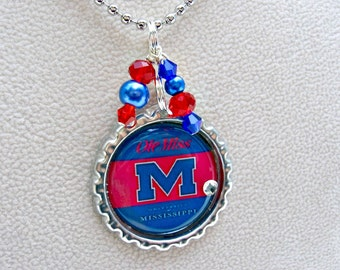 Ole Miss, Rebels Jewelry, Ole Miss Necklace, UOM Jewelry, College Girl Gift, UOM Rebels, UOM Necklace, University of Mississippi, UoM Mom