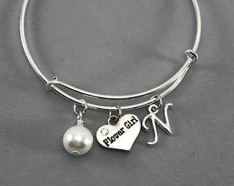 Flower Girl Gift -Flower Girl - Pearl Wedding Jewelry - Wedding -Flower girl bracelet personalized-  Charm Bracelet - Flower Girl Proposal