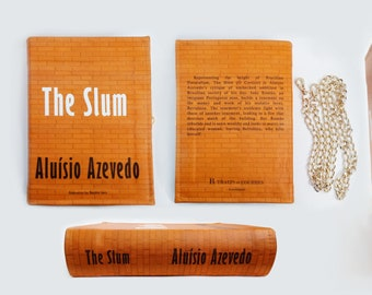 SALE Leather Book Clutch The Slum O Cortiço by Aluísio Azevedo | Handmade | Luxury Bag | Literary Purse Made to Order | Brazilian Literature