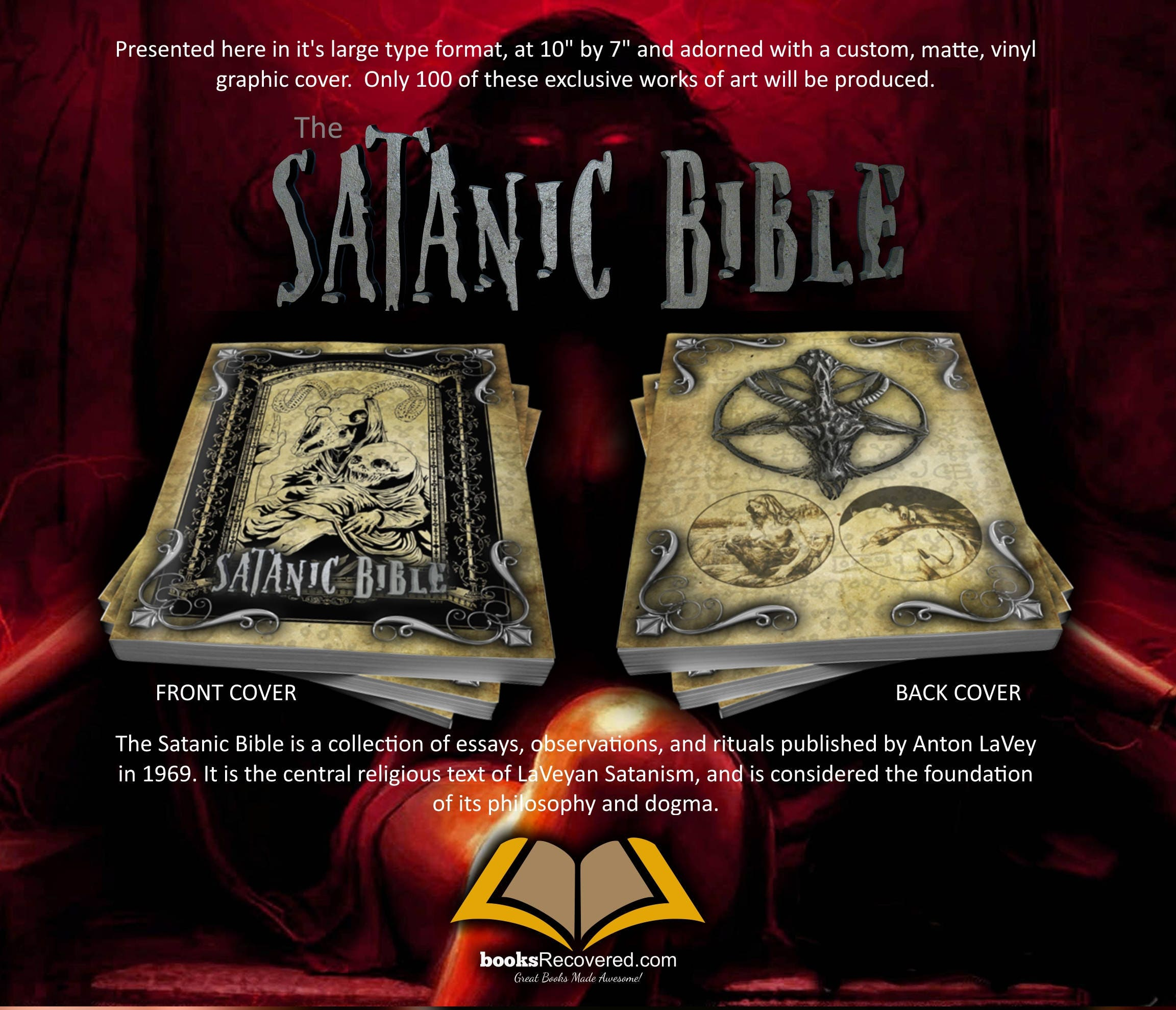 the satanic bible anton lavey custom design by 🔎zoom